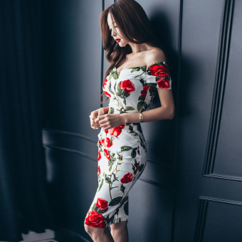 Korean-style Slim fit word collar off-the-shoulder Print dress short skirt
