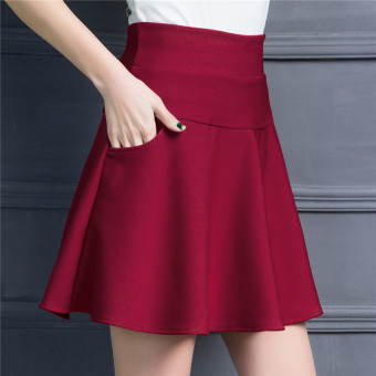 Korean-style slimming word base Skirt (Wine red color)