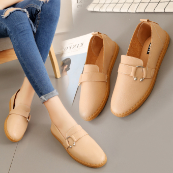 Korean-style soft bottom autumn New style casual shoes flat shoes (87 + powder B-5 buckle soft bottom)