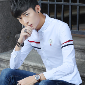 Korean-style solid color autumn long-sleeved men's shirt white shirt (White)
