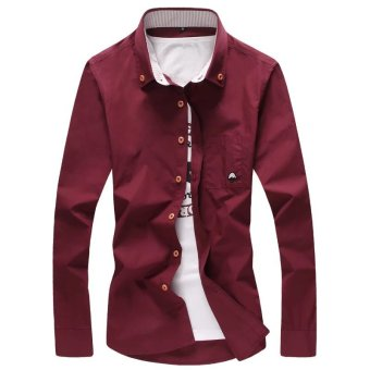 Korean-style solid color autumn New style long-sleeved business shirt (Red Wine)