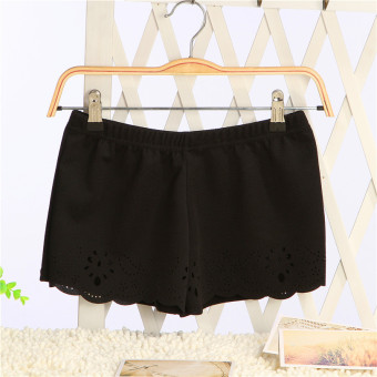 Korean-style solid color thin thread empty shorts safety shorts (Black)