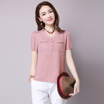 Korean-style solid women's short sleeved Top cotton linen shirt (Leather pink) (Leather pink)