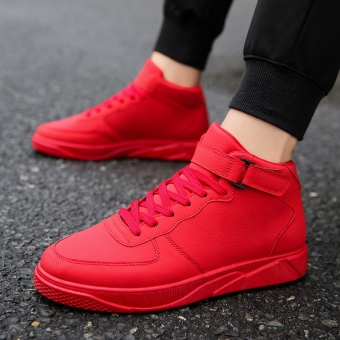 Korean-style student autumn hight-top trendy shoes men's casual shoes (Red)