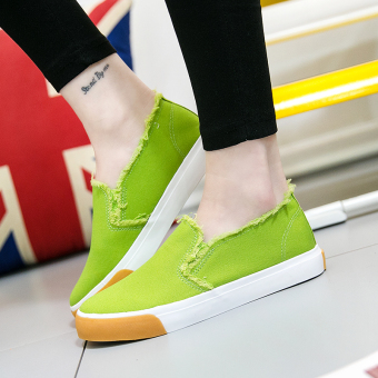 Korean-style student flat shoes New style canvas shoes (Green)