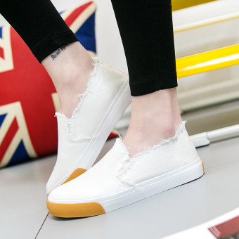 Korean-style student flat shoes New style canvas shoes (White)
