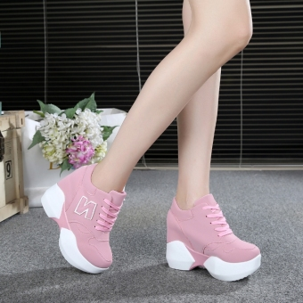 Korean-style super high-heeled thick bottomed muffin versatile shoes elevator women's shoes (Pink color)