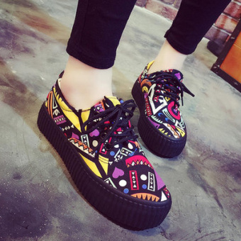 Korean-style thick bottomed graffiti cloth shoes New style sail cloth shoes (Purple)