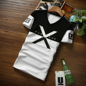 Korean-style v-neck printed Slim fit Short sleeve Top T-shirt (Large X on black under the white)