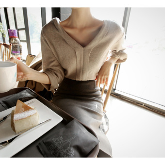 Korean-style V-neck Slim fit slimming woolen dress base skirt
