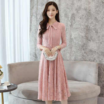 Korean-style white female long section A Word skirt dress (Pink)