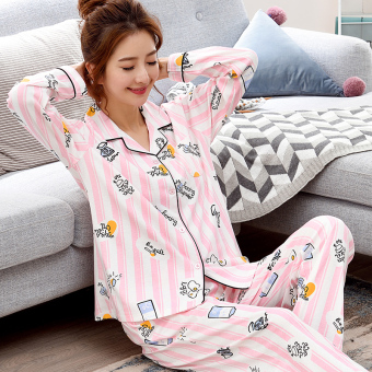 Korean-style women's cotton long-sleeved thick tracksuit pajamas (QF2711 #)