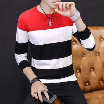 Korean style yarn outerwear thin bottoming shirt T-shirt (Red 021)