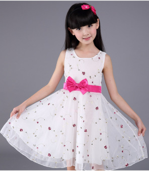 Korean-style yarn summer children's skirt girls dress (White dress) (White dress)