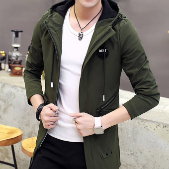Korean-style young student Slim fit coat casual jacket (Dark green color)
