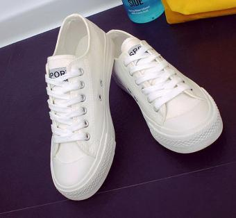 Korean version of the classic flat canvas shoes casual shoes -white - intl Price in Philippines