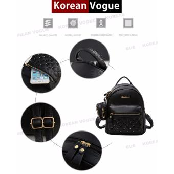 Korean Vogue 2 Pieces KV4009 Mysterious Black Series High Quality Synthetic Leather Student Unique Style Casual Backpack Bag Set - 4