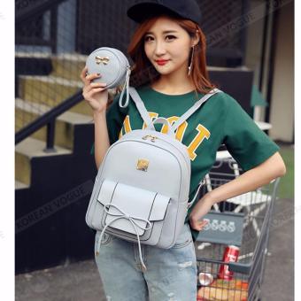 KOREAN VOGUE KV4004 High Quality Ladies Smooth Faux Leather 2 Pieces Women Unique Backpack Bag Set (Grey) - 3