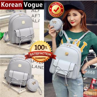 KOREAN VOGUE KV4004 High Quality Ladies Smooth Faux Leather 2 Pieces Women Unique Backpack Bag Set (Grey)