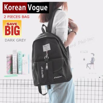 KOREAN VOGUE KV7001 Women Backpack Ladies Set Bag (Dark Grey)