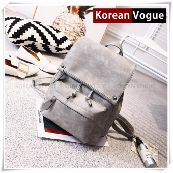 KOREAN VOGUE KV8002 Pu Leather Women Casual Ladies Backpack Bag(Grey)
