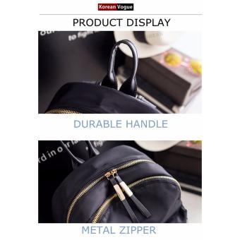Korean Vogue KV8051 Mysterious Black Series Student Unique DoubleCompartment Style Nylon Casual Backpack Bag - 3