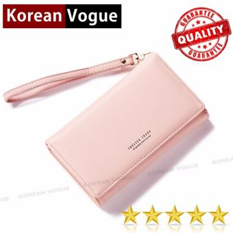 Korean Vogue LW-009 Ladies High Quality Long Section Three Folded Woman Handbag Wallet (Pink)