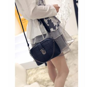 Korean Vogue SB-014 Mysterious Black Series Synthetic LeathereSmall Size Women Grid Hard Shell Shoulder Chain Fashion Bag