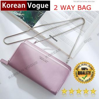 Korean Vogue SB-018 Ladies High Quality 2 Way Bag ExquisiteMulti-function Long Section Cellphone Hand Bag Shoulder Bag WomenWallet Card Holder with Strap(Old Rose)
