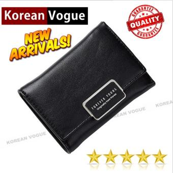 Korean Vogue SW-008 Ladies High Quality Exquisite Multi-functionShort Section 3 Folded Hand Bag Women Wallet Card Holder (Black)