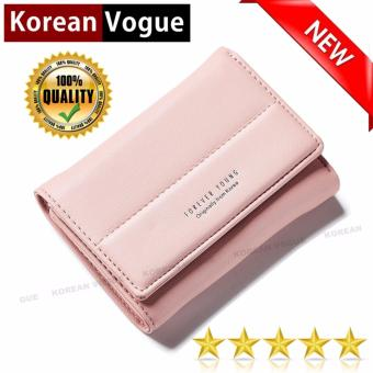 Korean Vogue SW-010 Ladies High Quality Exquisite Magic CharmMulti-function Short Section 3 Folded Hand Bag Women Wallet CardHolder (Pink)