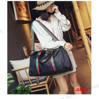 Korean Vogue TB-009 Premium Quality Women Large Capacity Rainbow Strap Tote Bag Series Ladies Travel Gym Sport Handbag Shoulder Bag(Black-Large)