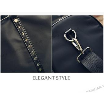 Korean Vogue TB-010 Premium Quality Unisex Large Capacity Rivet Style Tote Bag Series Ladies Travel Gym Sport Handbag Shoulder Bag(Black-Medium) - 5