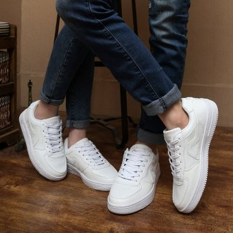 Korean white shoes shoes low for single men and women studentsround flat shoes lace up shoes tide Lovers - intl - 3