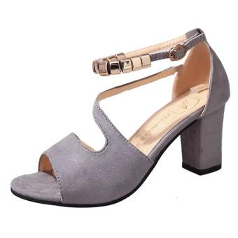 Krecoo Summer Ladies Soft Leather Casual Heel Sandals-Grey - intl - 4