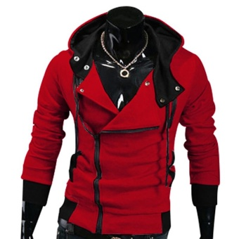 Kuhong explosion of Assassin s Creed sweater oblique zipper hoodedjacket Red - intl
