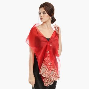 Kultura Raffaella Ladies Organza Shawl (Red)