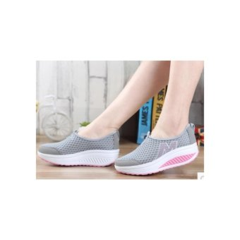 Ladies fashion wedge casual shoes gray - intl - 2