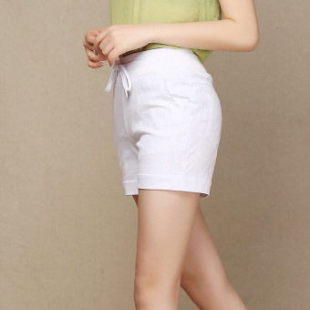 Ladies Leisure Candy Color Elastic Waist Linen Shorts (White)(Intl) - 3