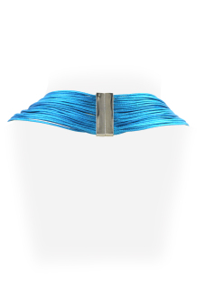 Ladies Multi Layered Magnetic-lock Nylon Necklace (Blue Green)