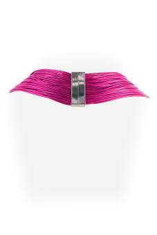 Ladies Multi Layered Magnetic-lock Nylon Necklace (Pink)