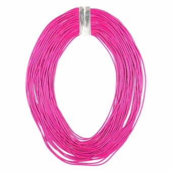 Ladies Multi Layered Magnetic-lock Nylon Necklace (Pink) - picture 2
