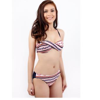 Ladies Nautical Stripe Bikini Swimsuit Swimwear With Dress Cover Up - 3