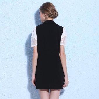 Ladies Spring Lapel V neck Knee Above Cardigan Style ChiffonWaistvest Tops Vest (Black) - intl - 2