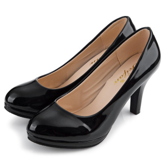 Ladies Thick High Heel Shoes Patent Leather Shallow Mouth Round Toe (Black) - 4