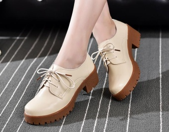Lady British leather shoes casual shoes thick soles (White) - intl Price Philippines
