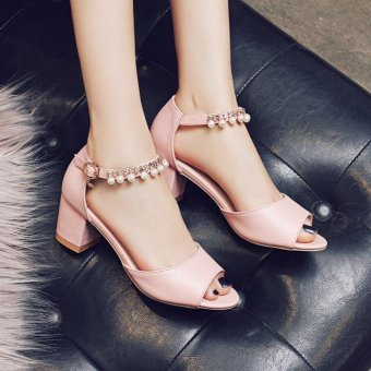 Lady's Heeled Sandals Summer Women's Shoes Block Heels Peep Toe Pearl Ankle Straps Elegant Korean Color Pink - intl - 2