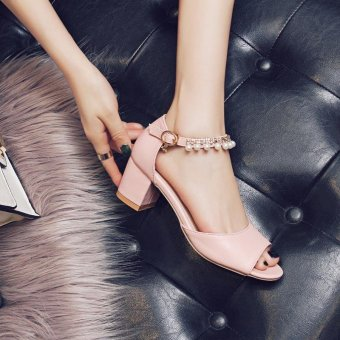 Lady's Heeled Sandals Summer Women's Shoes Block Heels Peep Toe Pearl Ankle Straps Elegant Korean Color Pink - intl - 4