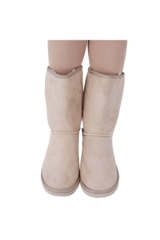 LALANG Chic Ladies Womens Rubber Sole Snow Ankle Boots Winter Warm Flat Casual Shoes Beige - 3