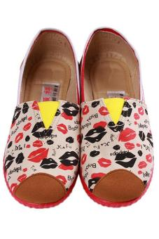 LALANG Fashion Canvas Shoes Lips Printed Casual Sneakers Red
